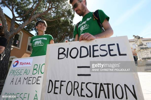 People hold placards reading 'Total passes to organic at the Mede oil palm biodiesel but' and 'Biodiesel equals deforestation and climatekiller' as...