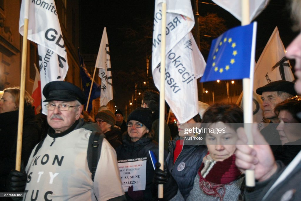 Lech Walesa supports anti-government rally in Gdansk, Poland