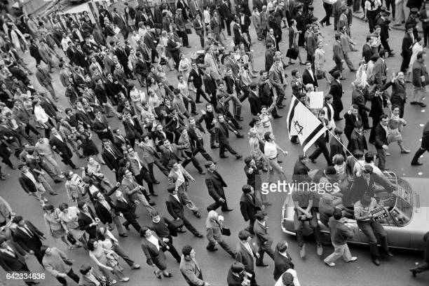 People holding Israeli flags demonstrate on June 06 1967 in Paris to support Israel on the second day of the sixday war On 05 June 1967 Israel...