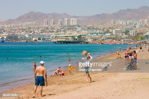 People holidaying in Eilat, Israel