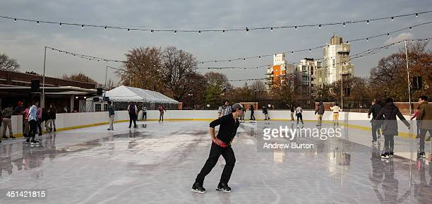 People ice skate at the ice rink at McCarren Pool which opened for the winter months last week on November 22 2013 in the Green Point neighborhood of...