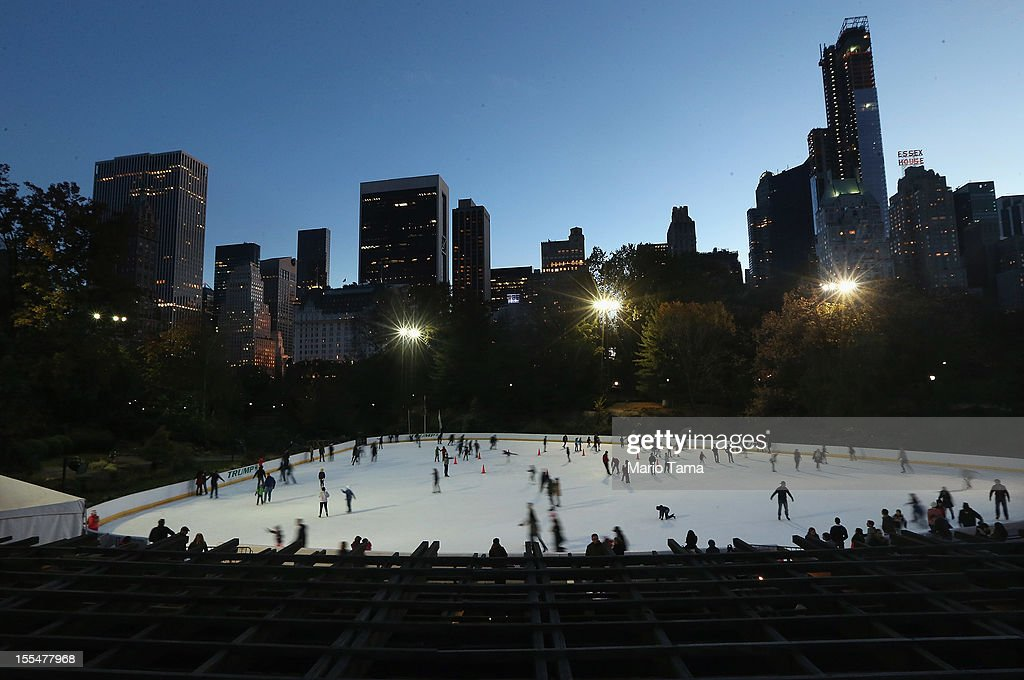 People ice skate in Central Park on the first day it opened following Superstorm Sandy on November 4, 2012 in New York City. With the death toll currently over 100 and millions of homes and businesses without power, the US east coast is attempting to recover from the effects of floods, fires and power outages brought on by Superstorm Sandy.