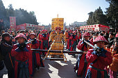 People imitate temple worship ceremony of the Qing Dynasty at the Spring Festival Temple Fair for celebrating Chinese Lunar New Year of The Sheep at...