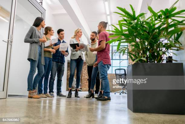 People in a business meeting at a creative office