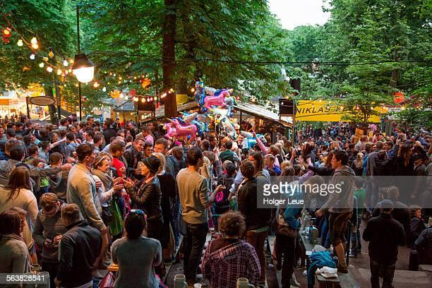 People in beer garden at Bergkirchweih fair
