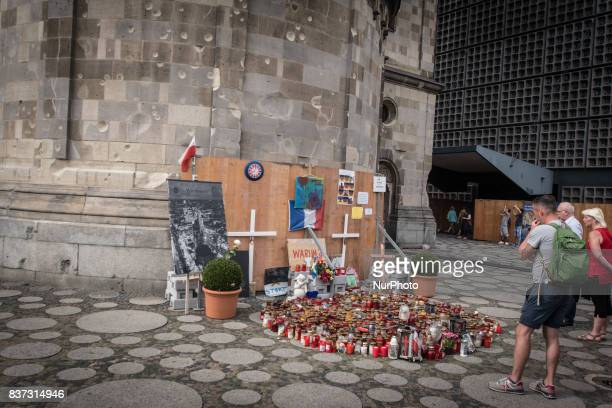 People in Berlin Germany on August 18 2017 during a memorial to Earth attack of December 19 at Breitscheidplatz in Berlin Germany On December 19 2016...