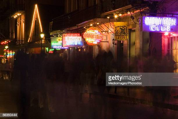 People in Bourbon Street, at night (blurred motion)