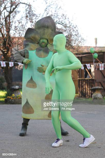 People in Bretforton perform Asparazumba as they celebrate the launch of British asparagus season A host of asparagus fans gather today St George's...