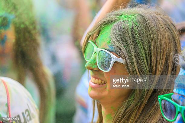 People in celebration in The Color Run by Desigual in Barcelona Catalonia May 18th of 2014
