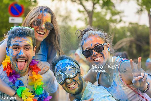 People in celebration on colorful powder in The Color Run by Desigual in Barcelona Catalonia May 18th of 2014