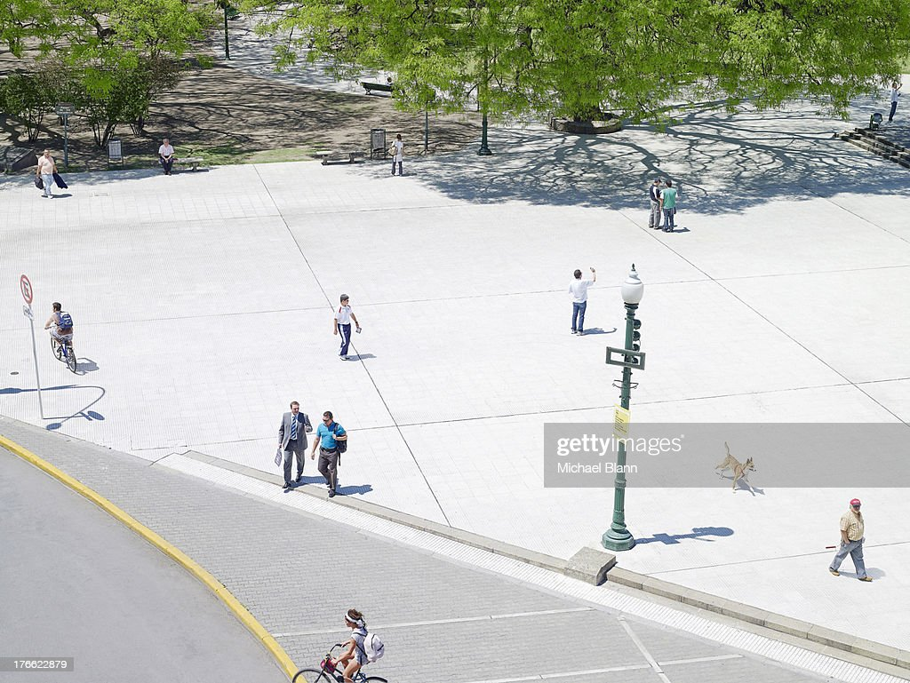 people in city park seen from above, aerial : Stock Photo