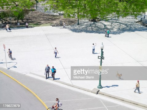 people in city park seen from above, aerial