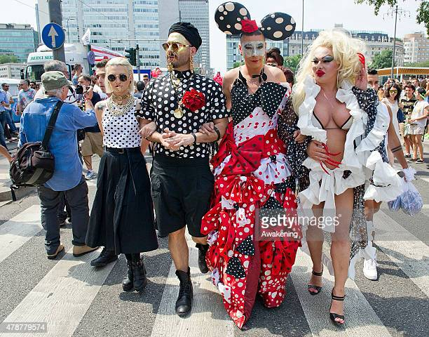 People in costume pose during the Gay Pride parade on June 27 2015 in Milan Italy Yesterday the United States Supreme Court legalized gay marriage...