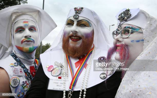 People in fancy dress take part in the Pride Glasgow parade through the city centre