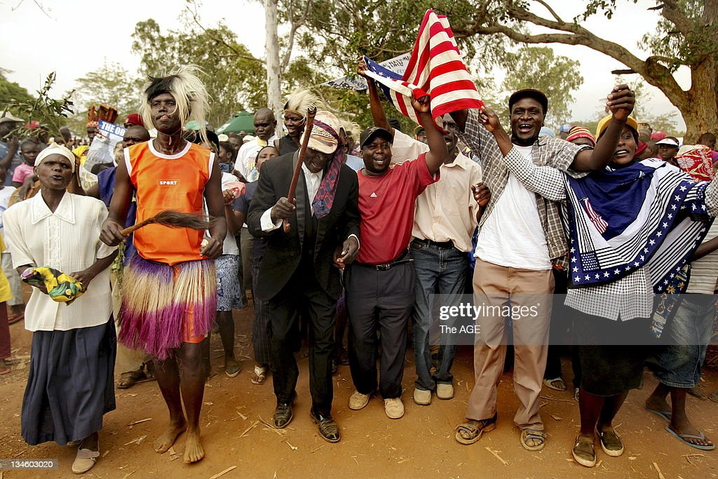 People in Kogelo village in Kenya dancing in celebration before watching the inauguration of Barack Obama live as he is sworn in as the 44th President of The United States of America. Kogelo is the Kenyan village where his father Barak Obama Senior was born and the Presidents grandmother lives. Kogelo, Kenya. Today 20th January, 2009.