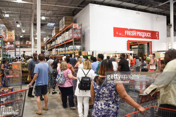 People in line at Costco waiting for bottled water find out Costco ran out of water on September 5 2017 in North Miami The monster hurricane coming...