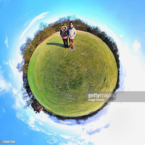 People in park with little planet effect