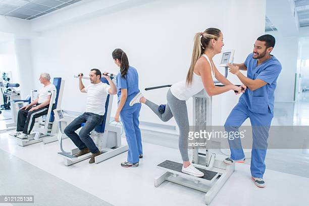 People in physical therapy at the hospital