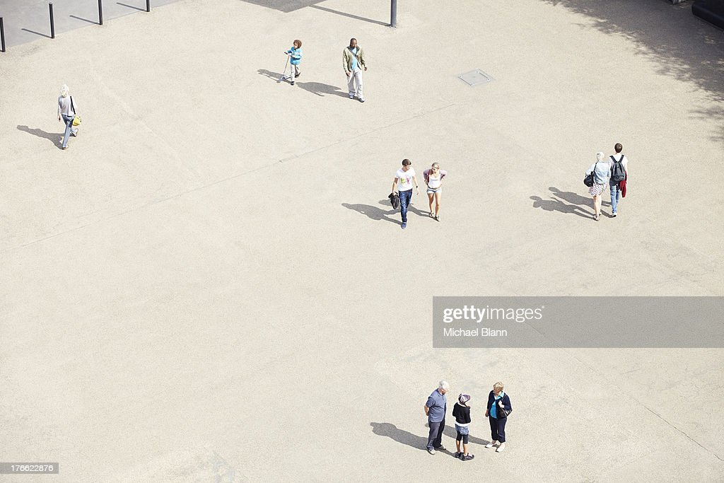 people in plazza seen from above, aerial : Stock Photo