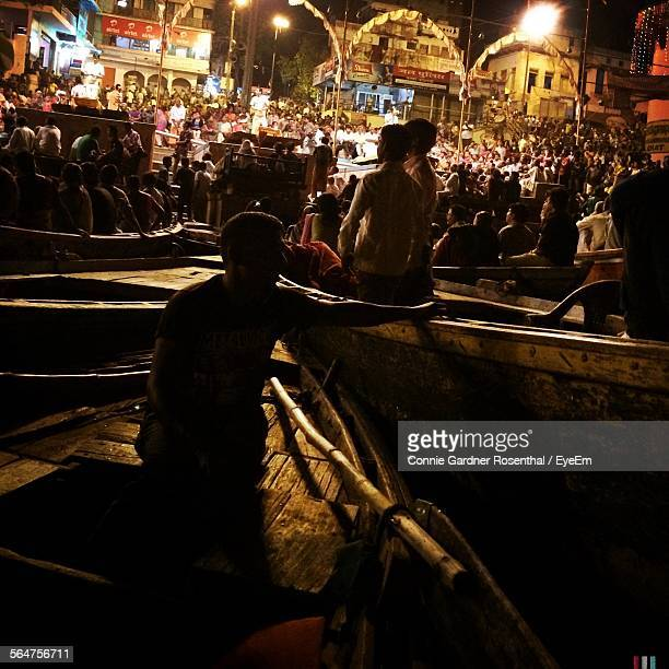 People In Rowboats On Ganges River At Night