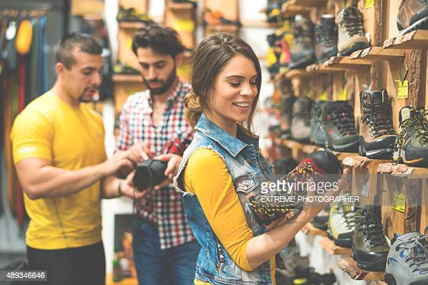 People in shoe store