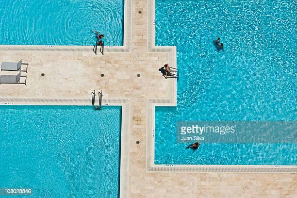 People in swimming pool, Hallandale Beach, FL, USA