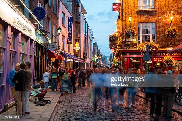 People in Temple Bar district at dusk