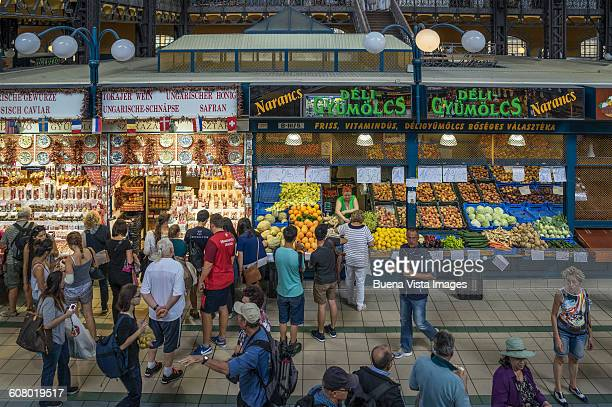 People in the central hall of Nagycsarnok Market,