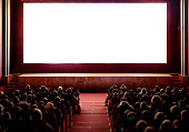 Cinema empty screen with audience. Blurred People silhouettes watching movie performance. Copy space.