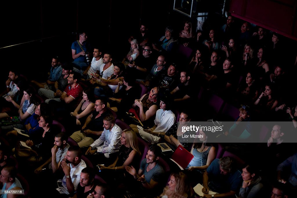 People in the crowd watch the first Miss Trans Israel beauty pageant on May 27, 2016 in Tel Aviv, Israel. Twelve Israeli transgender finalists took part in the event. The event marks the beginning of the 2016 Pride events.