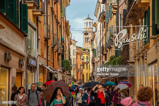 People in the shopping street of Verona, Italy