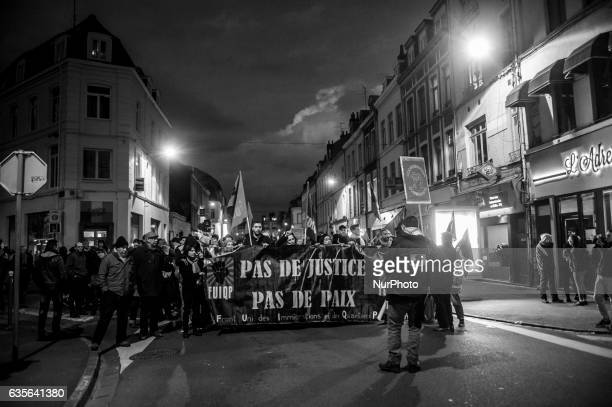 500 people in the streets and workingclass districts of Lille in support of Theo victims of police violence in Aulnaysousbois in Lille France 9...