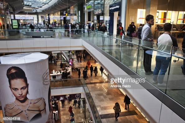 People in the Westfield Stratford City shopping mall in Stratford East London