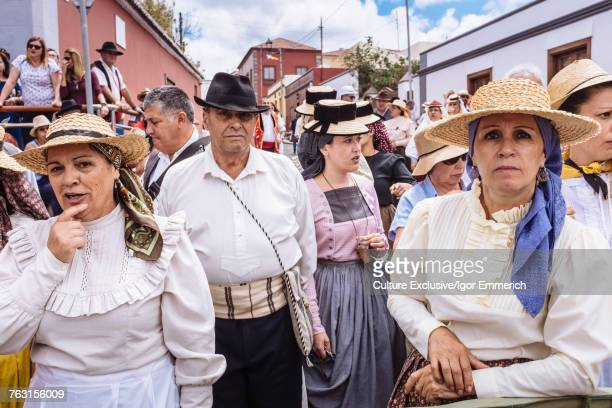 People in traditional clothing at harvest festival, Tegueste, Canary Islands, Spain