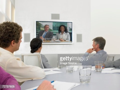 People in video conference meeting : Stock Photo