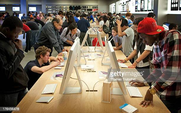 People inside an Apple Store