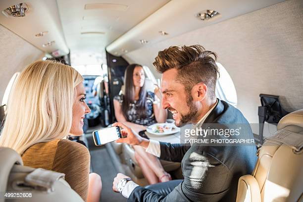 People inside jet airplane