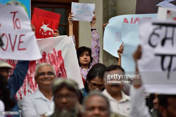 People join hands to support a campaign 'Not in My Name' in protest against the lynching of Muslim boy at Town Hall on June 28 2017 in Bengaluru India