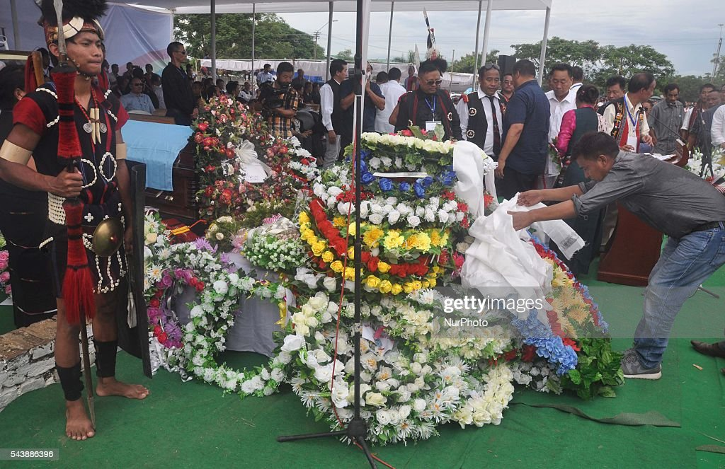 People lay raids to pay tribute to late Isak Chishi Swu for public funeral service in honour of Isak Chishi Swu, Chairman of the NSCN-IM at Dimapur, India north eastern state of Nagaland on Thursday, June 30, 2016. Thousands of mourners pay tribute to late Isak Chishi Swu chairman of the NSCN-IM who dies at a private hospital in Delhi on June 28.