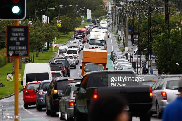 People leave the city early congesting roads before Cyclone Cook is due to reach landfall on April 14 2017 in Auckland New Zealand Reports suggest...