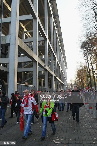 People leave the RheinEnergieStadion on November 19 2011 in Cologne Germany The Bundesliga match beween 1 FC Koeln and Mainz 05 that Rafati was due...