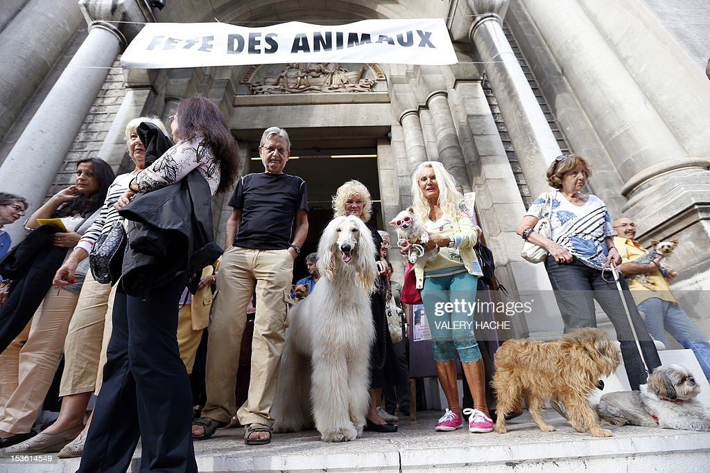 People leave the Saint-Pierre-d'Arene's church after a mass dedicated to animals on October 7, 2012, in Nice southeastern France.