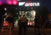 People leave the SAP Arena after the final of the live television show 'Germany's Next Topmodel' was suddenly interrupted and everyone told to...