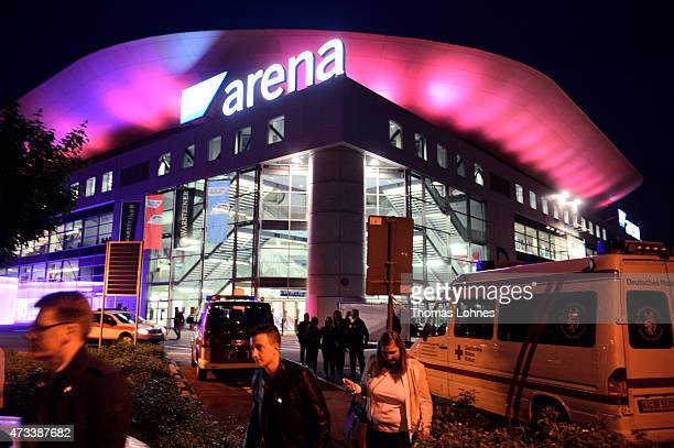 People leave the SAP Arena after the final of the live television show 'Germany's Next Topmodel' was suddenly interrupted and 10000 spectators told...