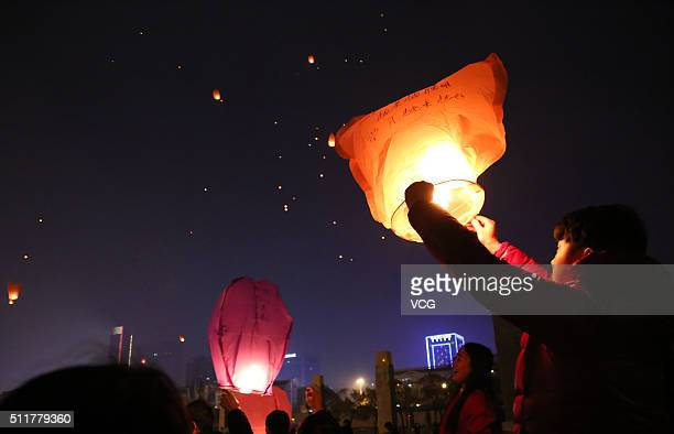 People light Kongming lanterns to celebrate Lantern Festival at a square on February 22 2016 in Huai'an Jiangsu Province of China Lantern Festival...