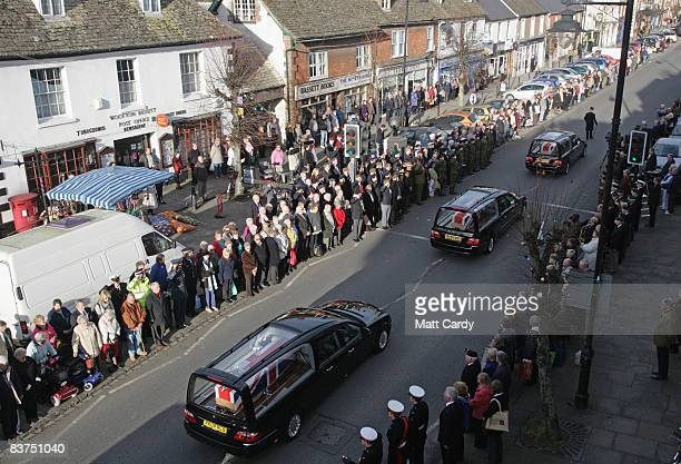 People line the streets of Wootton Bassett to pay tributes to the two Royal Marines and a Gurkha whose deaths last week brought the Afghanistan and...