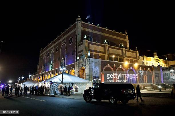 People line up as they wait to hear New Jersey Governor Chris Christie speak at his election night event at the Asbury Park Convention Hall on...