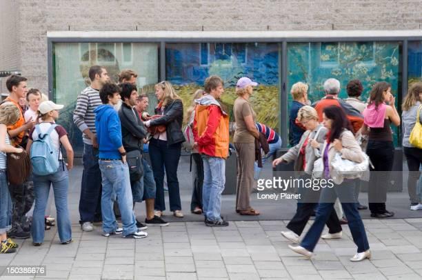 People line up at Van Gogh Museum.