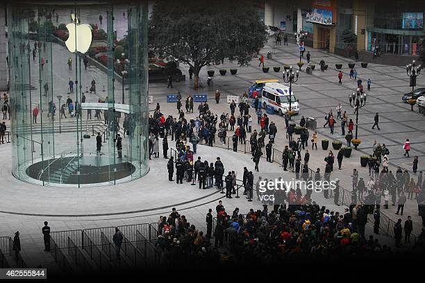 People line up early to wait for second Apple Store's Opening at Jiefangbei in Yuzhong District on January 31 2015 in Chongqing Sichuan province of...