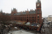 People line up in a massive queue outside St Pancras train station for Eurostar services to mainland Europe on December 21 2010 in London England...